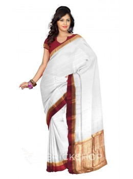 SELF CHECK FLORAL BORDER CREAM, MAROON, GOLD MYSORE SILK SAREE
