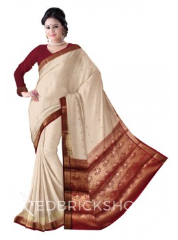 PAISLEY SCALE BORDER CREAM, MAROON, GOLD MYSORE SILK SAREE