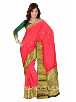 BROAD ZARI BORDER RED, GREEN, GOLD MYSORE SILK SAREE
