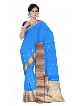 BROAD ZARI BORDER BLUE, NAVY, GOLD MYSORE SILK SAREE