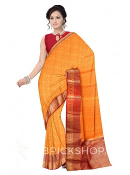 FLORAL VINE DROP BORDER MUSTARD YELLOW, MAROON, GOLD MYSORE SILK SAREE