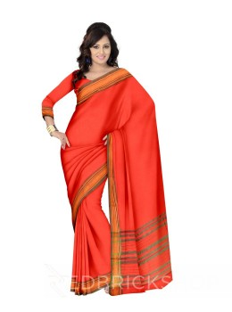 NARAYANPET PLAIN RED, GREEN COTTON SAREE