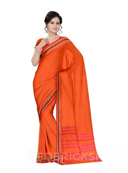 NARAYANPET PLAIN ORANGE, PINK COTTON SAREE