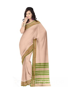 NARAYANPET PLAIN BEIGE, GREEN COTTON SAREE