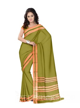 NARAYANPET PLAIN GREEN, PINK COTTON SAREE
