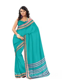 NARAYANPET PLAIN AQUAMARINE, PINK COTTON SAREE