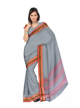 NARAYANPET PLAIN GREY, PINK COTTON SAREE