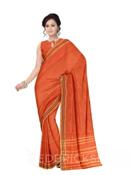 NARAYANPET SMALL CHECKS ORANGE, YELLOW COTTON SAREE