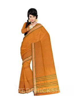 NARAYANPET SMALL CHECKS YELLOW, GREEN COTTON SAREE
