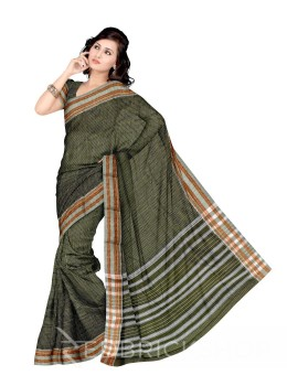 NARAYANPET BIG CHECKS GREEN, WHITE COTTON SAREE