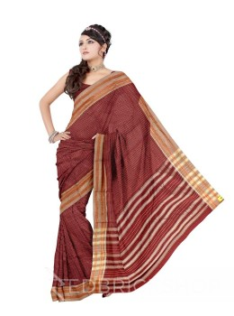 NARAYANPET BIG CHECKS MAROON, CREAM COTTON SAREE