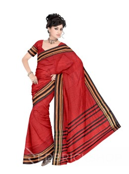 NARAYANPET BIG CHECKS RED, BLACK COTTON SAREE