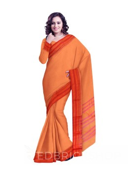 NARAYANPET BIG CHECKS PEACH, PINK COTTON SAREE