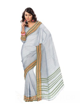 NARAYANPET BIG CHECKS CREAM, GREEN COTTON SAREE