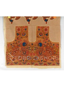 KALAMKARI TWO BIRD POLKA MUSTARD, BLUE, PINK, GREEN COTTON BLOUSE PIECE