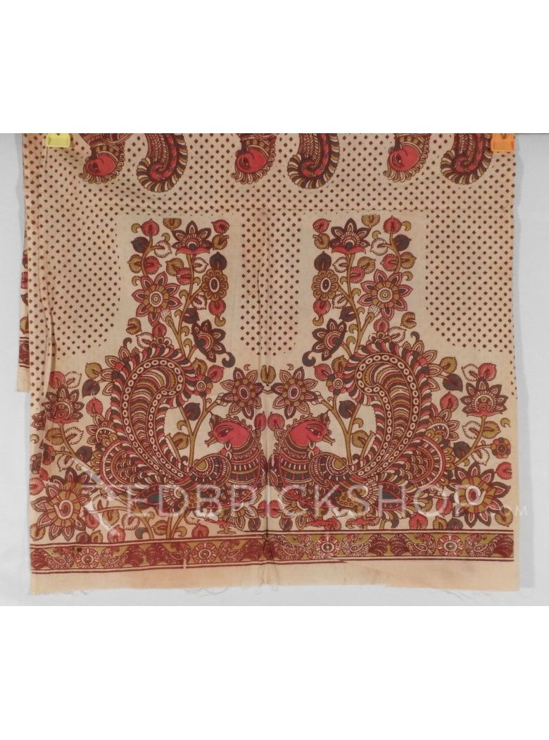 KALAMKARI TWO BIG BIRD SQUARE CREAM, PINK, GREEN COTTON BLOUSE PIECE