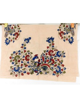 KALAMKARI SINGLE PEACOCK VINE CREAM, MAROON, BLUE COTTON BLOUSE PIECE