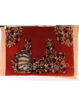 KALAMKARI SINGLE PEACOCK VINE MAROON, BLUE, YELLOW COTTON BLOUSE PIECE