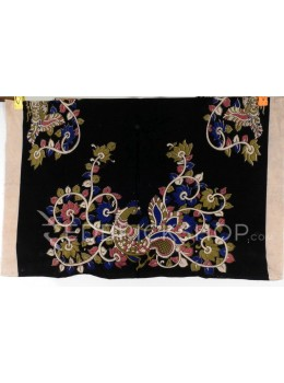 KALAMKARI SINGLE PEACOCK VINE BLACK, PINK, BLUE, GREEN COTTON BLOUSE PIECE