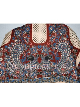 KALAMKARI BIRD DIAMOND MAROON, BLUE, ROSE PINK, CREAM COTTON BLOUSE PIECE