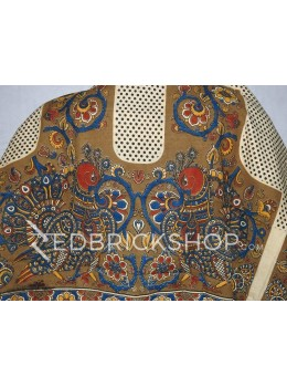 KALAMKARI PEACOCK POLKA KHAKI BROWN, RED, BLUE, YELLOW, CREAM COTTON BLOUSE PIECE