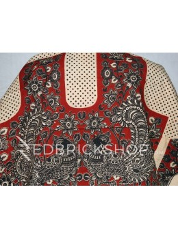 KALAMKARI BIRD DIAMOND RED, BLACK, CREAM COTTON BLOUSE PIECE