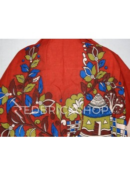 KALAMKARI HOUSE RED, BLUE, GREEN, MAROON, CREAM COTTON BLOUSE PIECE
