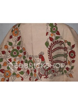 KALAMKARI SINGLE PEACOCK CREAM, RED, GREEN, YELLOW COTTON BLOUSE PIECE