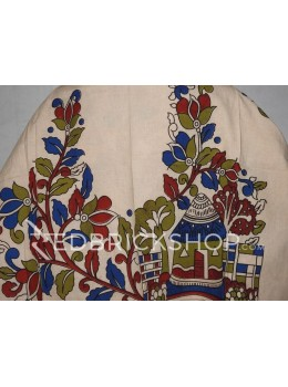 KALAMKARI HOUSE CREAM, RED, BLUE, GREEN COTTON BLOUSE PIECE