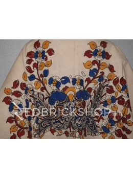 KALAMKARI BIG BIRD, CREAM, BLUE, RED, YELLOW COTTON BLOUSE PIECE