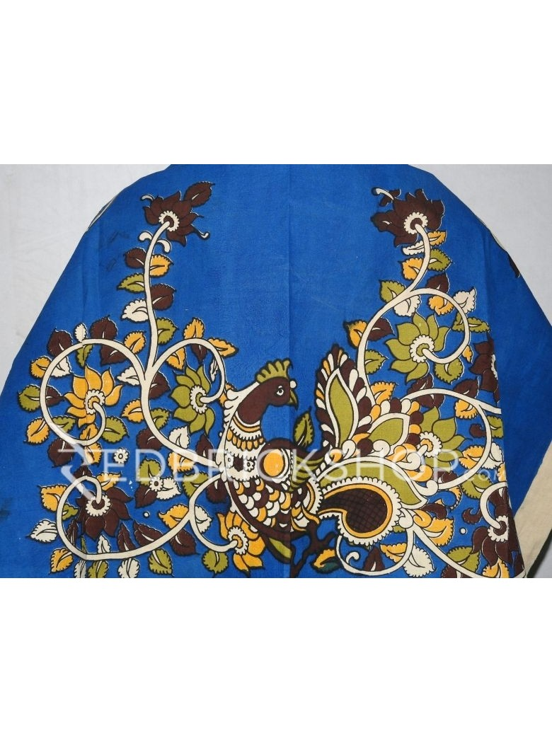 KALAMKARI SINGLE BIRD, BLUE, BROWN, YELLOW, GREEN, CREAM COTTON BLOUSE PIECE