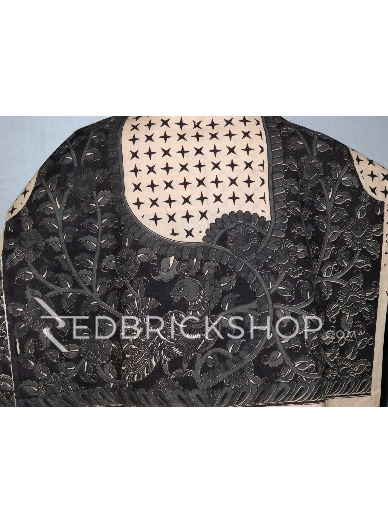 KALAMKARI SINGLE PEACOCK STAR BLACK, GREY, CREAM COTTON BLOUSE PIECE