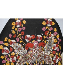 KALAMKARI BIG BIRD BLACK, RED, ONION PINK, YELLOW,CREAM COTTON BLOUSE PIECE