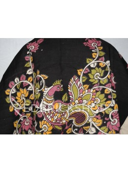 KALAMKARI SINGLE BIRD BLACK, ONION PINK, GREEN, YELLOW, CREAM COTTON BLOUSE PIECE