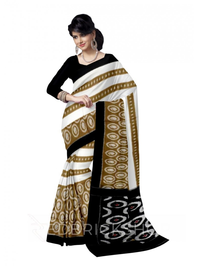POCHAMPALLY IKKAT OVAL CREAM, KHAKI, BLACK COTTON SAREE
