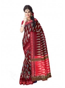 POCHAMPALLY IKKAT DROP MAROON, GREY COTTON SAREE