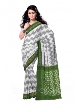 POCHAMPALLY IKKAT ZIGZAG, WHITE, GREEN COTTON SAREE
