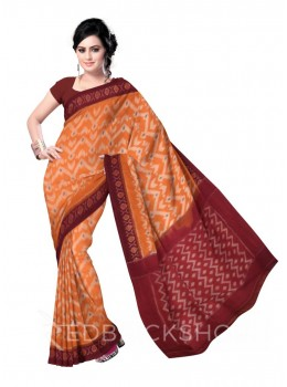 POCHAMPALLY IKKAT ZIGZAG ORANGE, MAROON COTTON SAREE