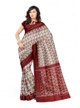 POCHAMPALLY IKKAT ZIGZAG PAAN OFF-WHITE, MAROON COTTON SAREE
