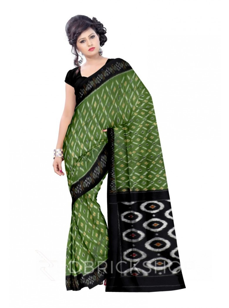 POCHAMPALLY IKKAT DIAMOND, GREEN, BLACK COTTON SAREE
