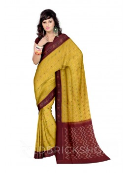 POCHAMPALLY IKKAT DIAMOND DOT YELLOW, MAROON COTTON SAREE