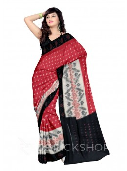 POCHAMPALLY IKKAT BIG DIAMOND HEART RED, CREAM, BLACK COTTON SAREE