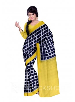 POCHAMPALLY IKKAT CHECKS BLUE, YELLOW COTTON SAREE