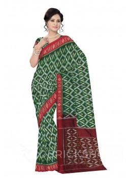 POCHAMPALLY IKKAT DIAMOND, DOT, GREEN, MAROON COTTON SAREE