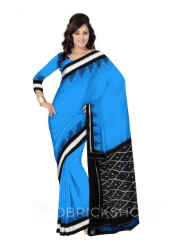 POCHAMPALLY IKKAT PLAIN TEMPLE STRIPE BORDER BLUE, BLACK, WHITE COTTON SAREE