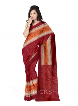 POCHAMPALLY IKKAT FLORAL TRIANGLE CREAM, ORANGE, MAROON COTTON SAREE