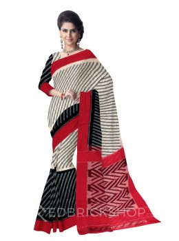 POCHAMPALLY IKKAT DIAGONAL LINE CREAM, BLACK, RED COTTON SAREE