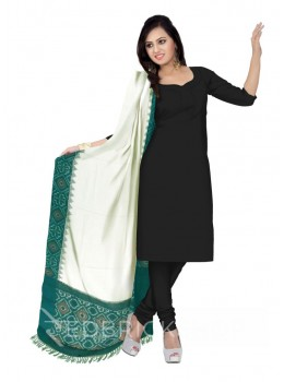 POCHAMPALLY IKKAT PLAIN FLORAL BORDER OFF-WHITE, GREEN COTTON DUPATTA