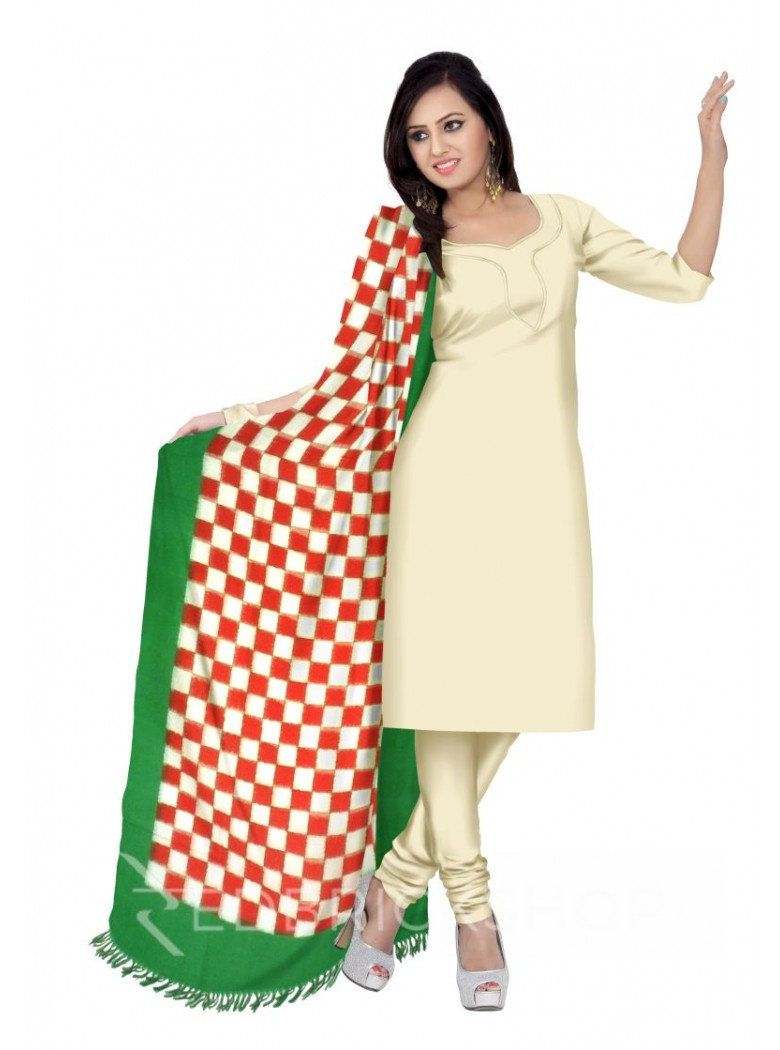 POCHAMPALLY IKKAT CHECKS RED, WHITE, GREEN COTTON DUPATTA