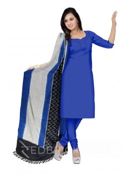 POCHAMPALLY IKKAT SMALL CHECKS, ZIGZAG, BLUE, BLACK, WHITE COTTON DUPATTA